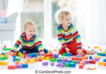 jeu, jouet, blocks., gosses, jouets, children.