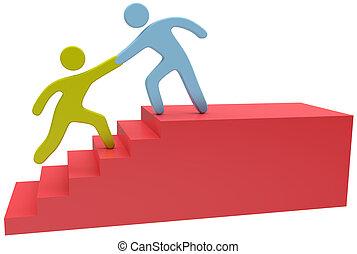 joindre, aide, gens, haut, main, escalier