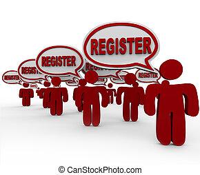 joindre, gens, club, registre, conversation, parole, enregistrement, bulles