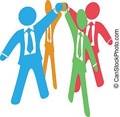 joindre, professionnels, travail, haut, mains, équipe