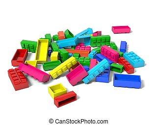 jouet, 3d, illustration, blocks.