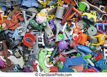 jouets, vieux, oublié, cassé