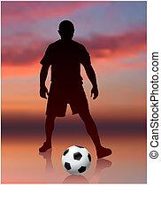 joueur, football, soir, fond