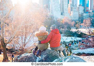 jouir de, central, couple, parc, célèbre, york, ice-rink, nouveau, vue, heureux