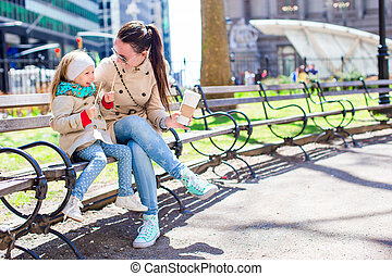 jouir de, ville, peu, ensoleillé, york, mère, nouveau, girl, adorable, jour