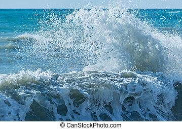 jour ensoleillé, eau, vague, mer, time.