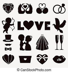 jours, illustration, valentin, vecteur, mariage, heureux