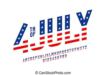 juillet, usa, style, drapeau, police, 4ème