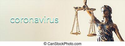 justice, statue, concept, -, droit & loi, covid-19, coronavirus