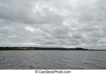 kavgolovo, lac, jour nuageux