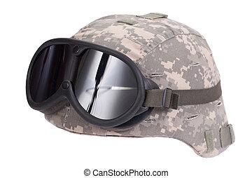 kevlar, protecteur, armée, couverture, camouflage, casque, lunettes protectrices, nous