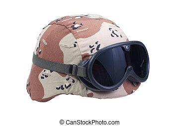 kevlar, protecteur, armée, couverture, nous casque, lunettes protectrices, camouflage, désert
