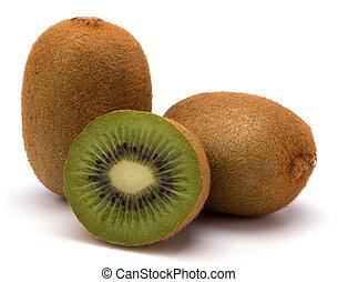 kiwi, blanc, fruit, isolé, fond