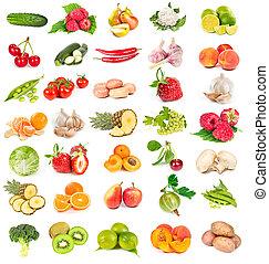 légumes frais, ensemble, fruits