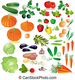 légumes, isolé, collection