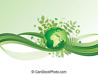 la terre, environnement, vert, ba, icône