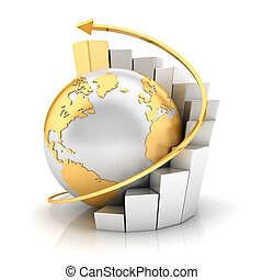 la terre, graphique barre, business, 3d