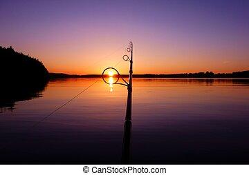 lac, été, coucher soleil, peche