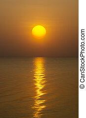 lac, lumière, surface., eau, coucher soleil, reflet