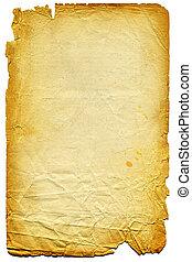 lambeaux, white., edge., papier, vieux, textured