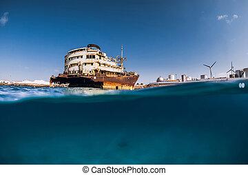 lanzarote, fente, naufrage, ocean., telamon, bleu, bateau, prise vue.