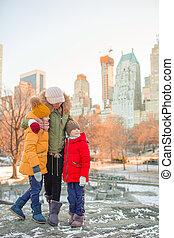 leur, gosses, vacances, ville, nouvelle mère, parc, central, pendant, york, famille
