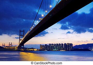 levers de soleil, hongkong, sur, pont, long