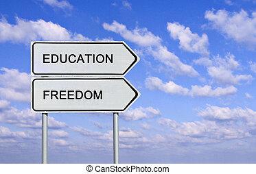 liberté, education, panneaux signalisations