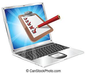 ligne, enquête, concept, ordinateur portable, presse-papiers