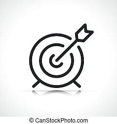 ligne, icône, flèche, cible