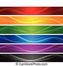 ligne, ondulé, bannières, coloré
