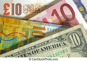 livre, angleterre, franc, usa, monnaie, dollar, euro, europe, suisse
