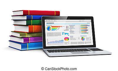 livres, ordinateur portable, pile, couleur