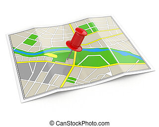 location., carte, concept., gps, thumbtack.