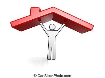 logement, toit, homme