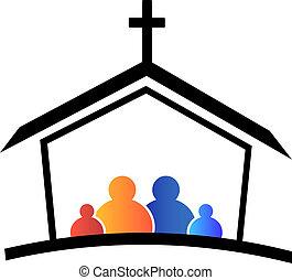 logo, église, famille, foi