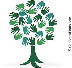 logo, arbre, vert, mains