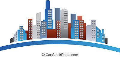 logo, bâtiments