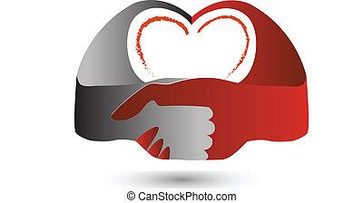 logo, coeur, symbole, poignée main