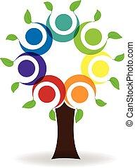 logo, collaboration, arbre, gens