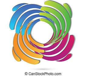 logo, connexion, mains affaires