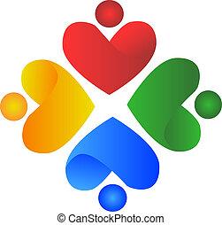 logo, gens, coeur