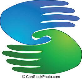 logo, poignée main, business