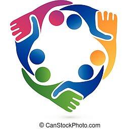 logo, poignée main, collaboration, business