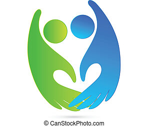 logo, poignée main, figures, business