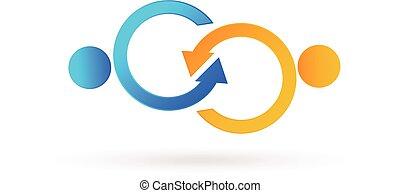 logo, poignée main, symbolique, business