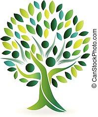 logo, symbole, écologie, arbre, gens