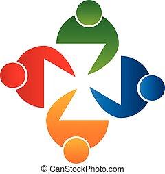 logo, vecteur, personnes réunion, collaboration