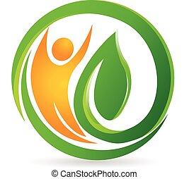 logo, vecteur, santé, nature, homme