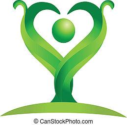 logo, vecteur, vert, figure, nature